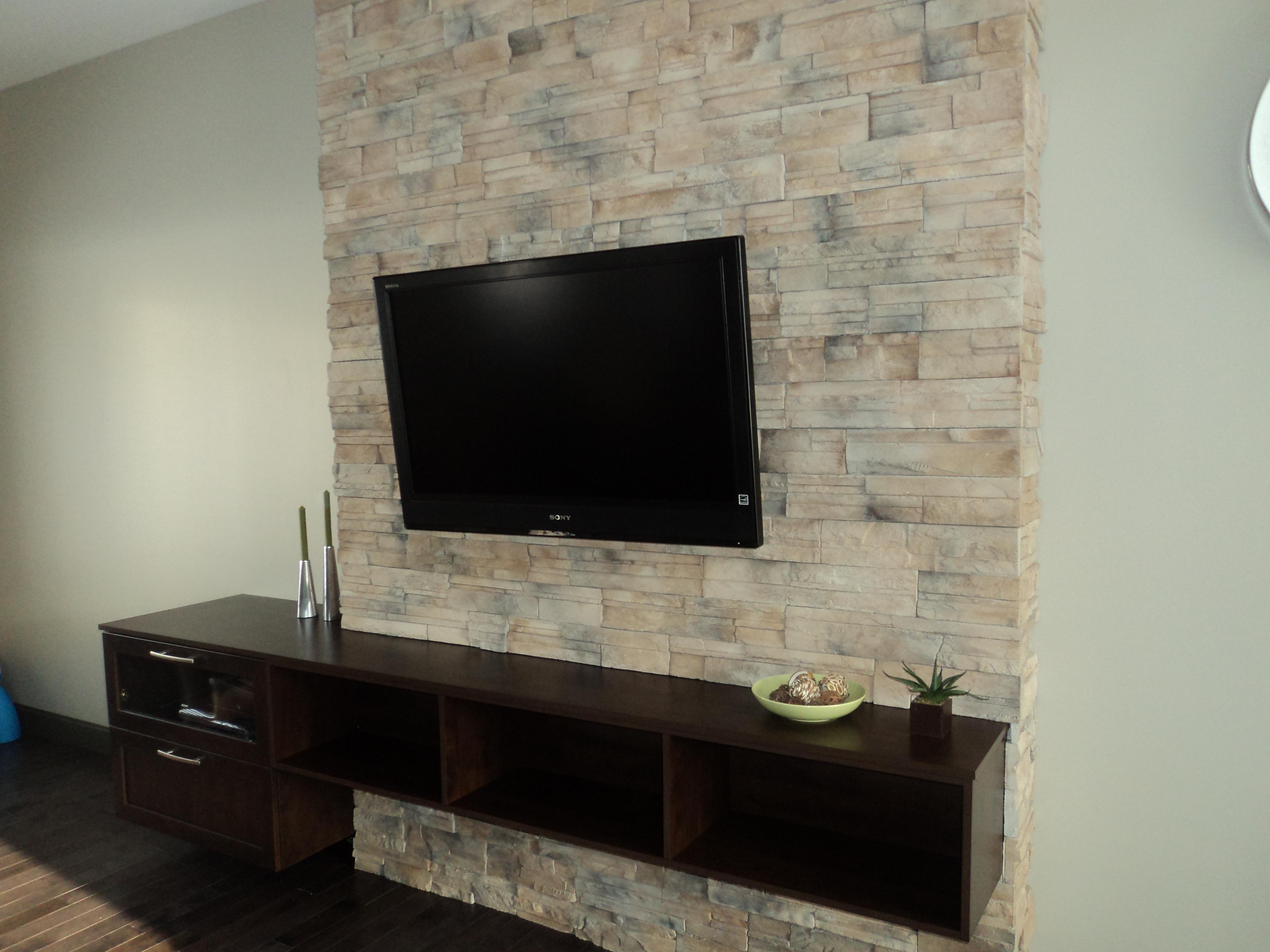 Meuble Polyest Re M Lamine Bois Blum Penture Coulisse  # Brick Meuble Tv Avec Foyer